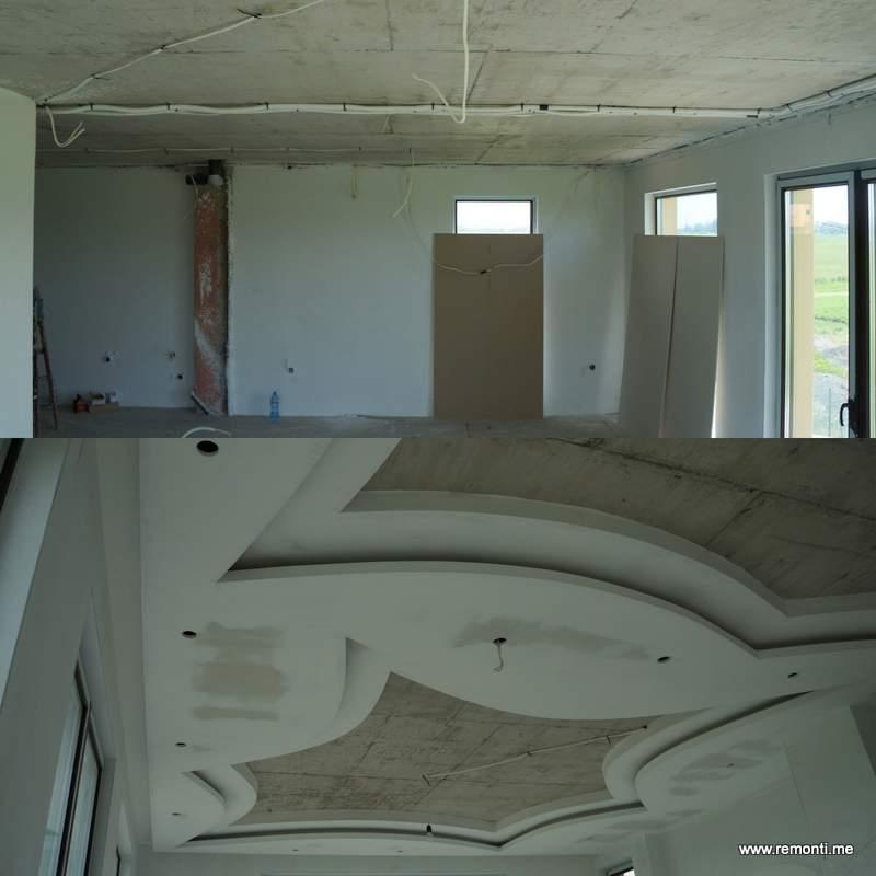 Сложни окачени тавани от гипсокартон в хол.Преди и след монтажа.
